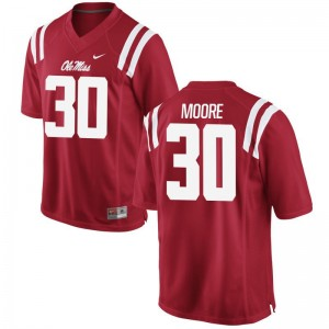 A.J. Moore Ole Miss Rebels University Mens Game Jerseys - Red