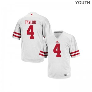 A.J. Taylor Wisconsin College Youth(Kids) Authentic Jerseys - White