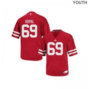 Aaron Vopal Wisconsin Badgers Football Youth(Kids) Replica Jersey - Red