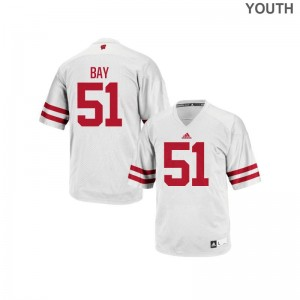 Adam Bay Wisconsin Badgers College Youth(Kids) Replica Jersey - White