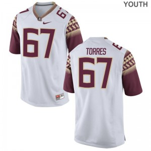 Adam Torres Seminoles Football Youth Game Jersey - White