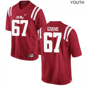 Alex Givens Ole Miss College Youth(Kids) Game Jerseys - Red