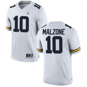 Alex Malzone University of Michigan College Mens Game Jersey - Jordan White