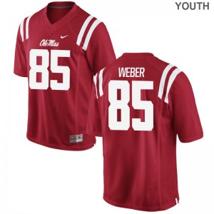 Alex Weber Ole Miss Player For Kids Game Jerseys - Red