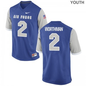Arion Worthman Air Force Falcons Football Youth(Kids) Game Jersey - Royal