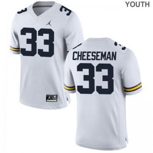 Camaron Cheeseman Wolverines University Youth(Kids) Game Jersey - Jordan White