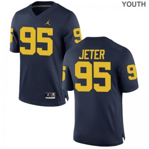 Donovan Jeter Michigan Wolverines Alumni Kids Game Jersey - Jordan Navy