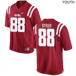 Garrett Styles University of Mississippi High School Youth(Kids) Game Jersey - Red