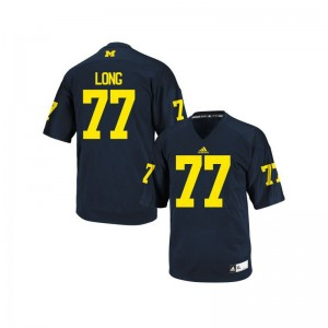 Jake Long Wolverines Official Youth(Kids) Game Jersey - Navy Blue