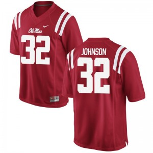 Jerry Johnson University of Mississippi Football Mens Game Jersey - Red