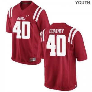 Josiah Coatney Ole Miss College Youth(Kids) Game Jersey - Red