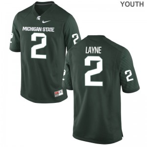 Justin Layne Michigan State University Player For Kids Limited Jerseys - Green