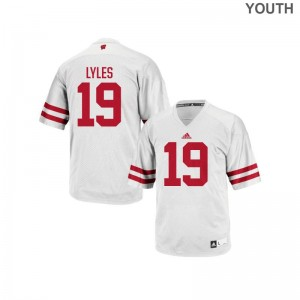 Kare Lyles University of Wisconsin Football Youth(Kids) Authentic Jerseys - White