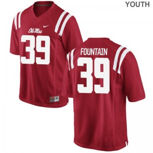 Kweisi Fountain Ole Miss Official Youth(Kids) Game Jersey - Red