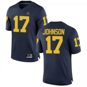 Nate Johnson Wolverines High School Mens Limited Jerseys - Jordan Navy