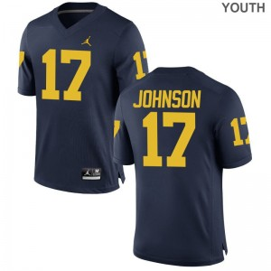 Nate Johnson University of Michigan NCAA Youth(Kids) Game Jersey - Jordan Navy