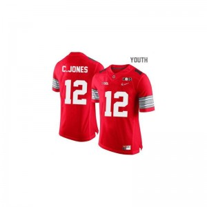 Cardale Jones Ohio State Buckeyes NCAA Youth(Kids) Game Jerseys - #12 Red Diamond Quest National Champions Patch