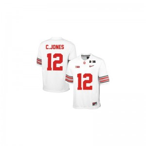 Cardale Jones Ohio State University Youth(Kids) Game Jersey - #12 White Diamond Quest 2015 Patch