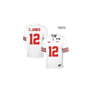 Cardale Jones OSU Buckeyes NCAA Youth Game Jerseys - #12 White Diamond Quest National Champions Patch